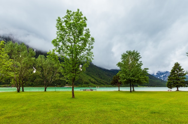 Летний пейзаж ахензее (ахенского озера) с зеленым лугом и деревянным причалом (австрия).