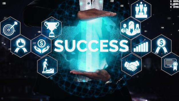성과 및 비즈니스 목표 성공 개념입니다.