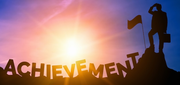Achievement and business goal success concept.