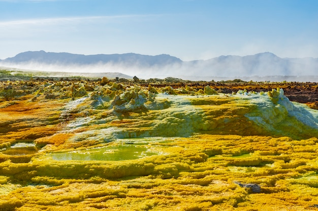 Acid ponds in dallol site in the danakil depression in ethiopia, africa