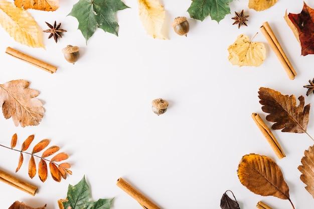 Acorn in center of autumnal arrangement