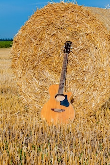 干し草の保釈金の近くに横たわるアコースティックギター。