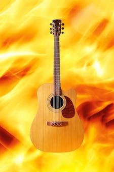 화재 배경에 어쿠스틱 기타입니다.