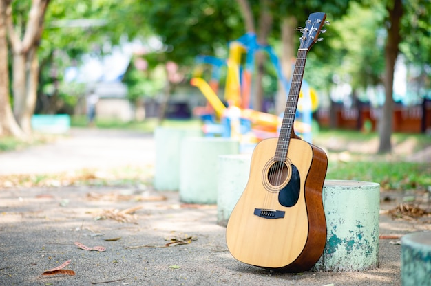 Acoustic guitar in a park