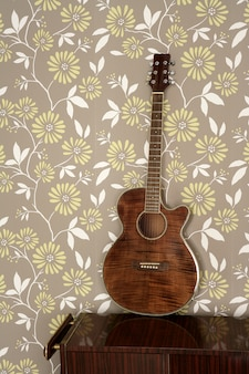 Acoustic guitar retro on vintage wall