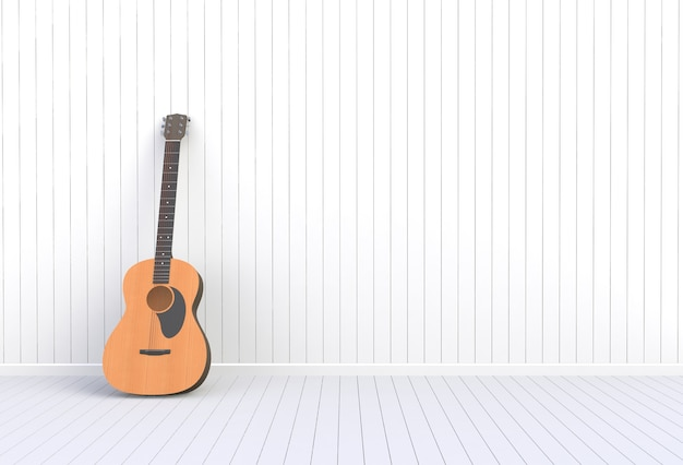 Acoustic guitar in a white room, 3d rendering