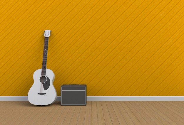 Acoustic guitar with guitar amplifier in a yellow room, 3d rendering