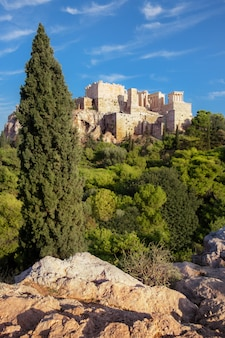 Acropolis fortress from the areopagus in athens