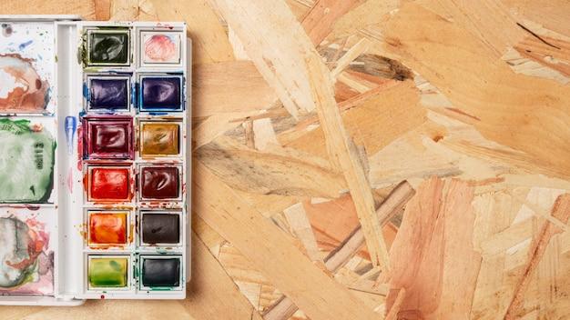 Acrylic colours copy space