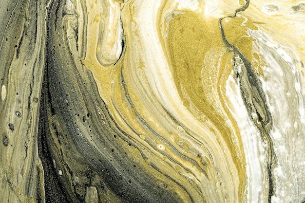 アクリル液アート。抽象的な石の背景やテクスチャ。液体の黒、白、金の大理石のテクスチャ