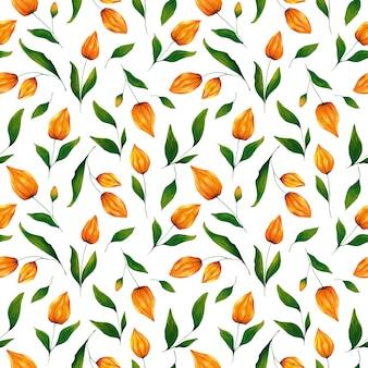 白い背景のシームレスなパターンにアクリル手描き冬桜。