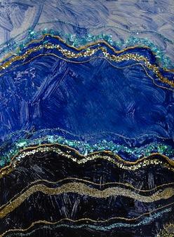 Акриловая краска современная синяя и золотая абстрактная живопись современное искусство обои приглашения с ...