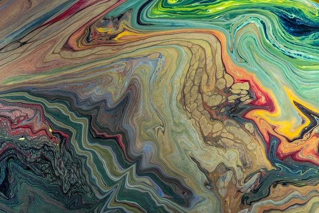 アクリル絵の具の色液体大理石の抽象的な表面のデザイン