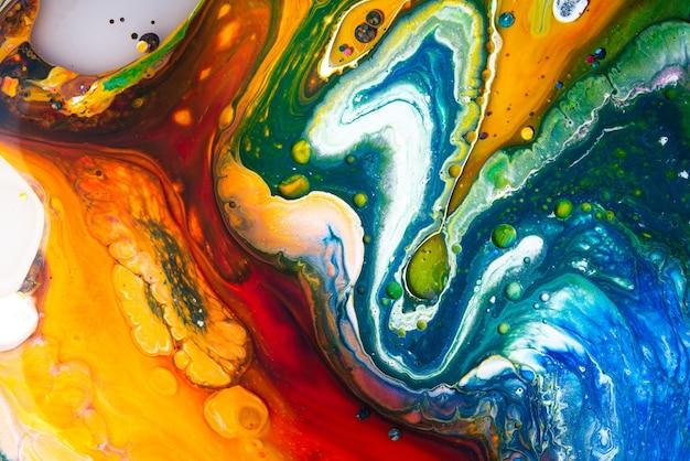 아크릴 붓는 색상 액체 대리석 추상 표면 디자인