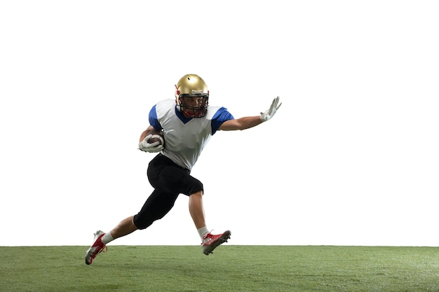 In action american football player isolated on white studio background with copyspace