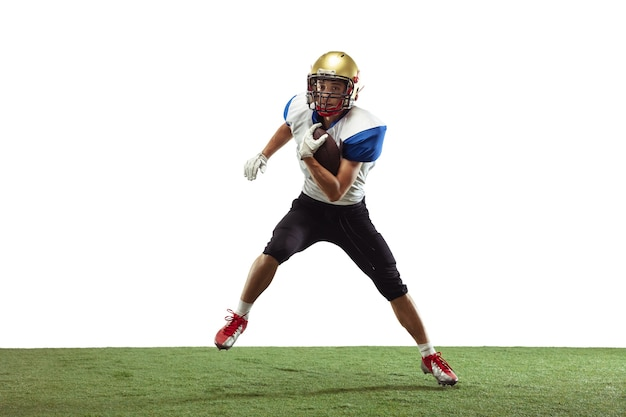 In action. american football player isolated on white with copyspace.