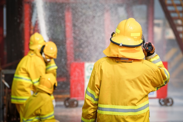 Action of fireman or firefighter leader is commanding in the fire accident case.