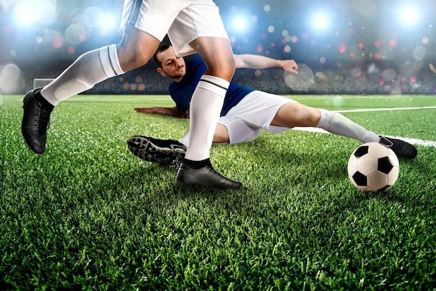 スタジアムでの競合するサッカー選手とのアクションシーン
