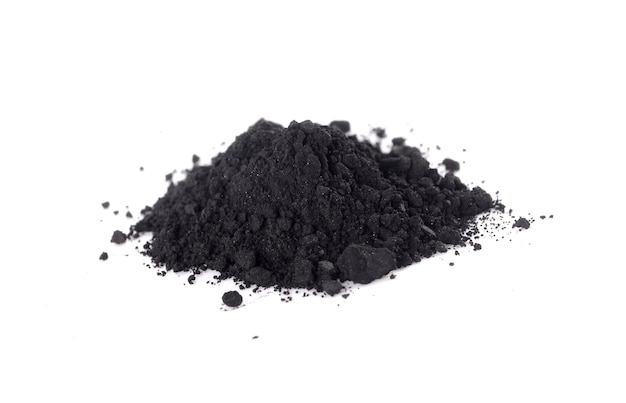 Activated charcoal isolated on white background
