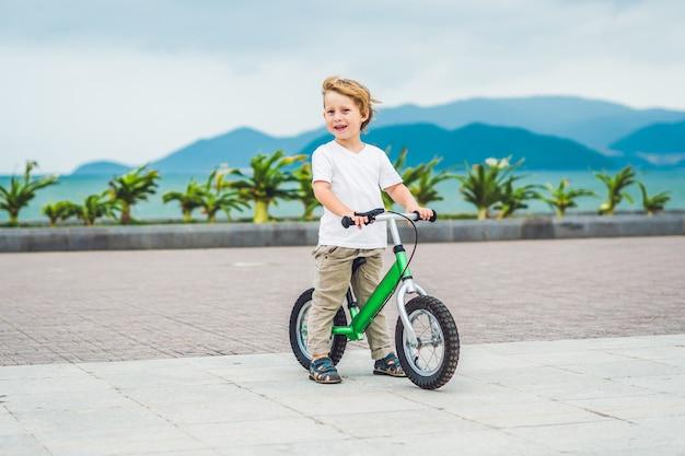 海の近くの公園で自転車を運転するアクティブな金髪の子供男の子