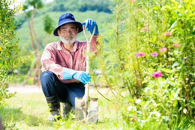 庭で働くアクティブな幸せな年配の男性