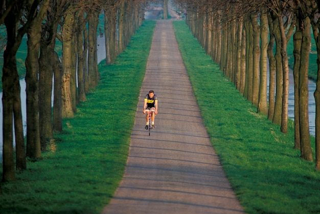 Active woman getting exercise by riding bicycle down remote country land boarded by trees