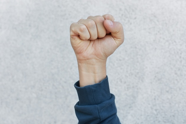 Activist fist up during strike