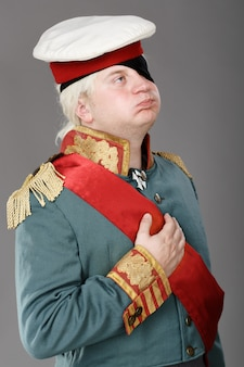 Actor dressed as russian generalissimo suvorov