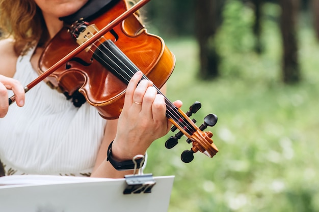 The actor performs at a party. musical instrument, hands of a violinist close-up.