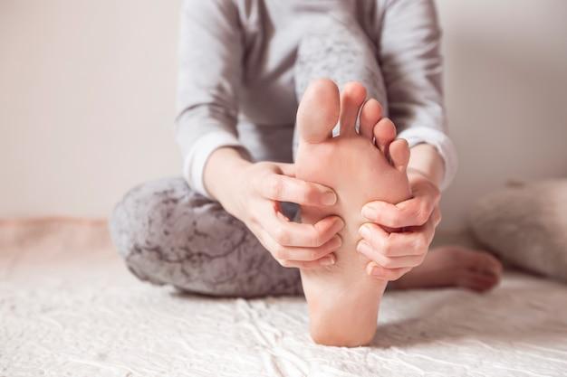 Acupressure on the feet. foot health.