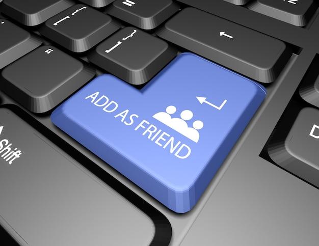 Добавить в друзья кнопка клавиатуры 3d