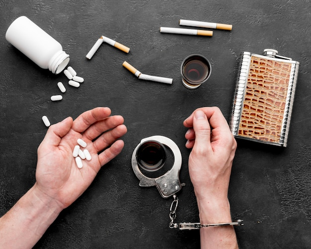 Addiction of pills and cigarettes