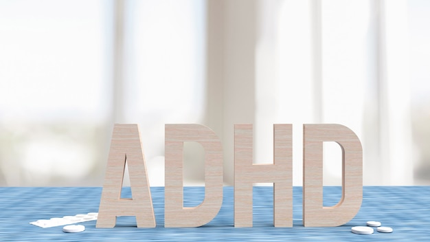 The adhd wood in living room for medical concept 3d rendering