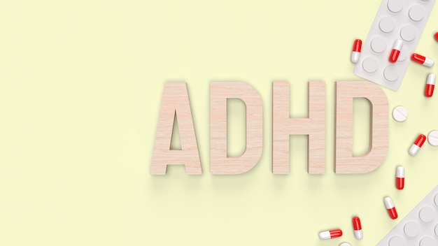 The adhd wood  text and drug for medical content 3d rendering