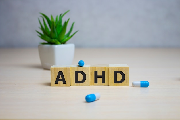 Adhd word on wooden cubes