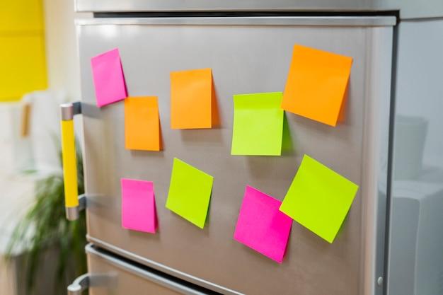 Adhesive notes on fridge