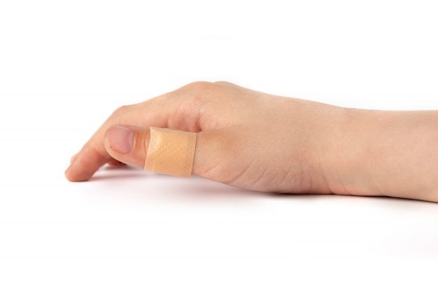 Adhesive plaster on finger