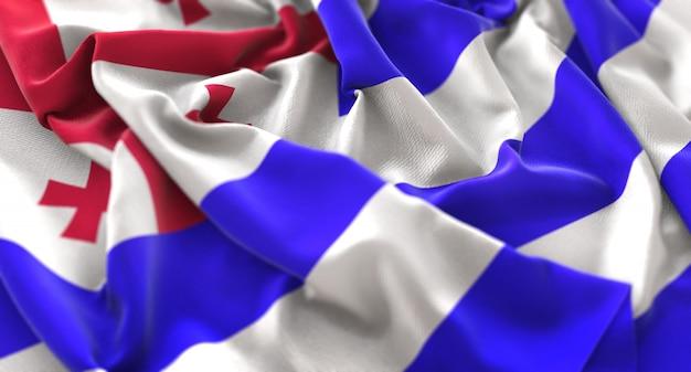 Adjara flag ruffled beautifully waving macro close-up shot