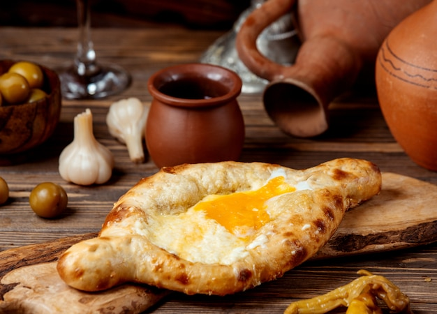Adjarian khachapuri on the table
