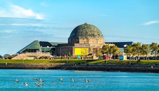The adler planetarium, a public museum dedicated to the study of astronomy and astrophysics in chicago, illinois