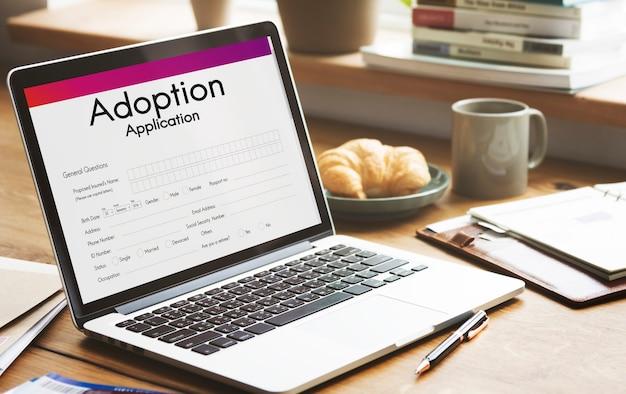 養子縁組アプリケーション家族後見サポートの概念