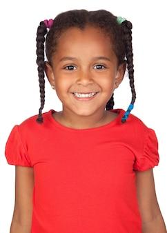 Очаровательная африканская девочка, изолированные над белым