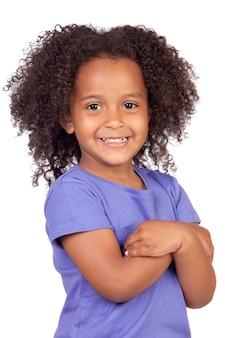 Очаровательны африканских девочка с красивой прическа, изолированных на белый