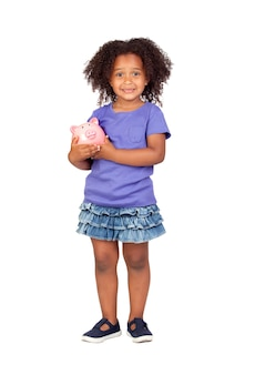 Adorable african little girl with piggy-bank isolated over white