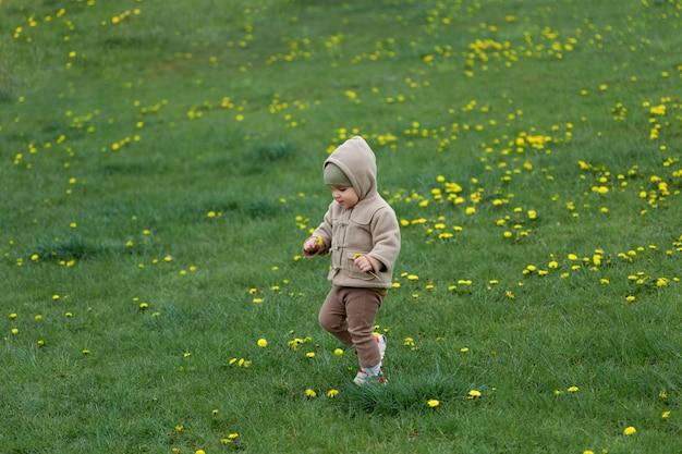 Очаровательный ребенок гуляет по траве