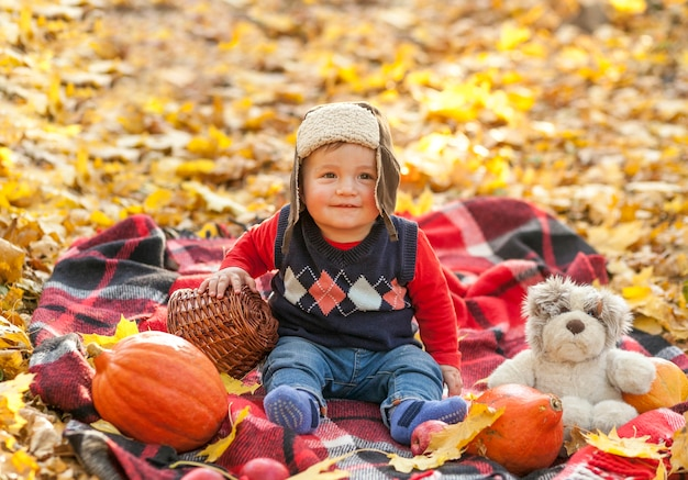 Adorable baby with fur cap on a picnic blanket