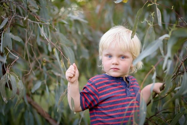 Очаровательная блондинка из австралии в полосатой футболке собирает веточки с листьями