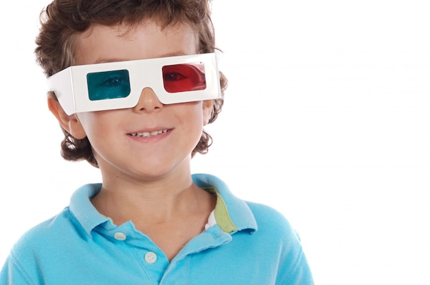 Adorable boy with 3d glasses over white background