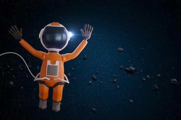 오렌지 우주복 만화 우주 비행사 3d 렌더링에 사랑스러운 만화 우주 비행사 캐릭터