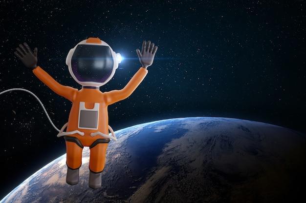 오렌지 우주복 만화 우주 비행사에서 사랑스러운 만화 우주 비행사 캐릭터
